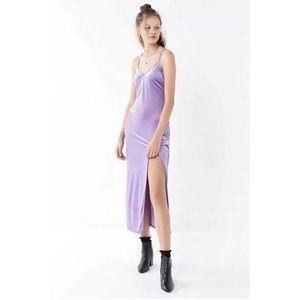 Velvet Cross-Back Maxi Dress Purple Lilac